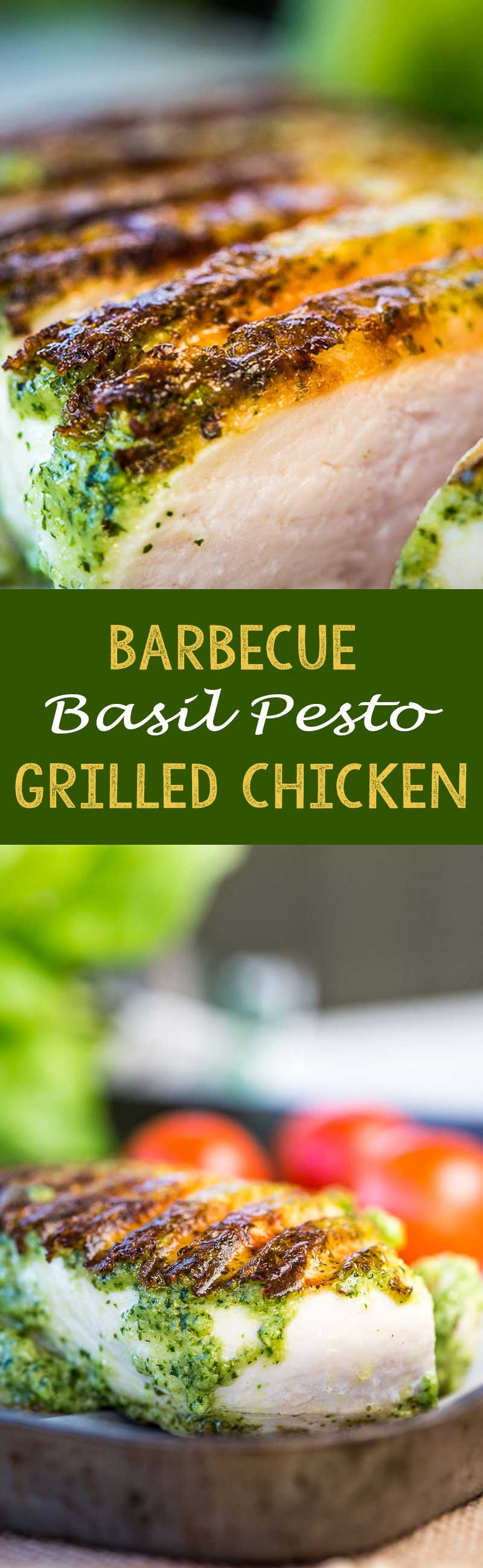 Barbecue pesto chicken grilled on the grill