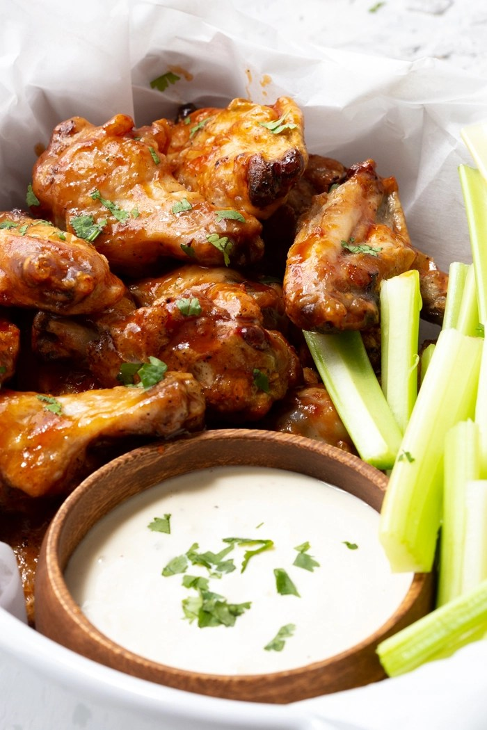 A baket full of air fryer wings, crispy, delicious and easy