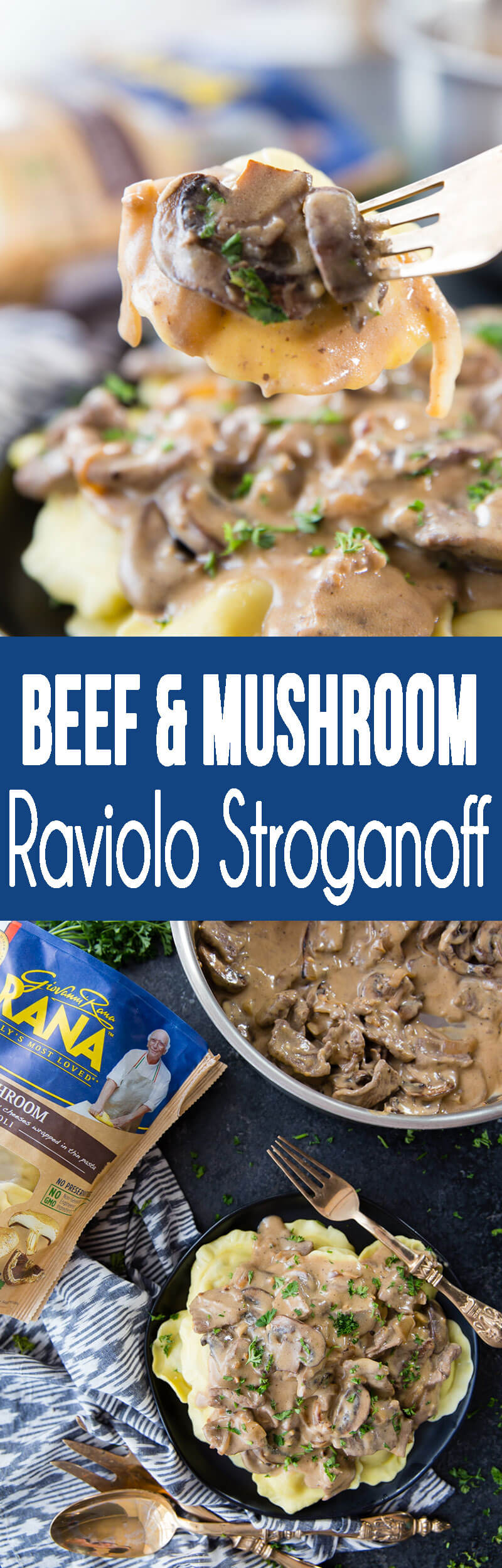 Beef and Mushroom Ravioli Stroganoff with delicious sauce