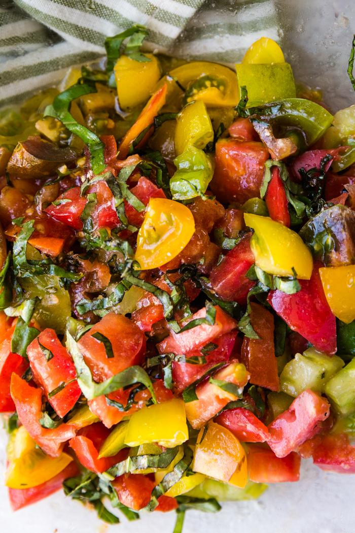 Caprese salad mixed together.