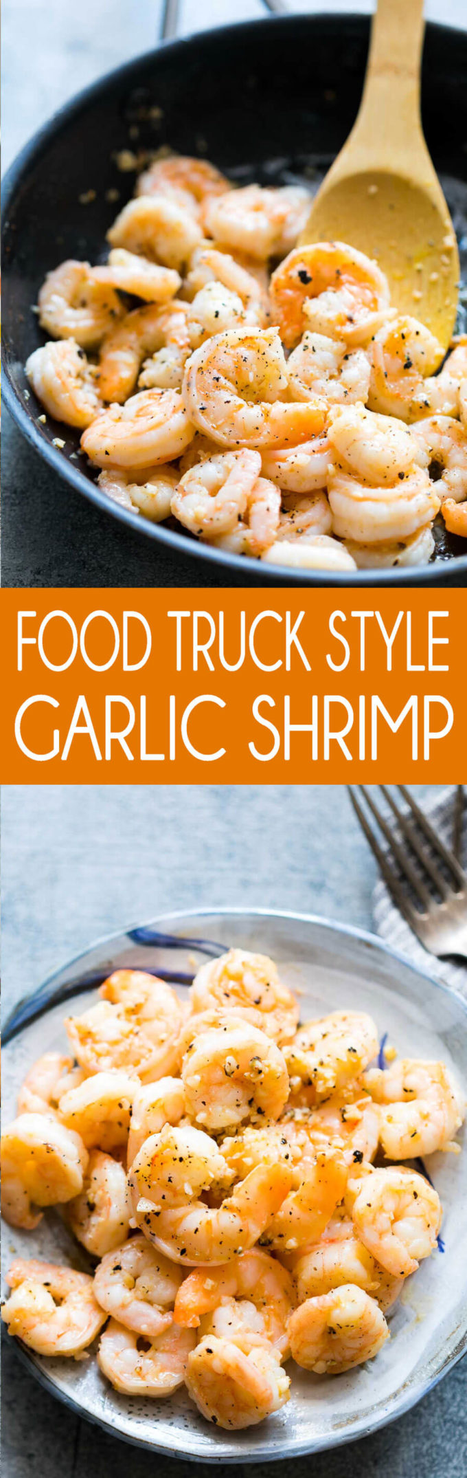 Food truck style garlic shrimp, big juicy shrimp sauted in garlic butter for the ultimate island meal