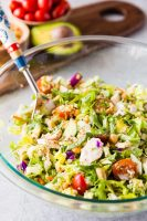 A delicious Greek Chicken Chopped Salad filled with chicken, greek veggies, and a greek vinaigrette.