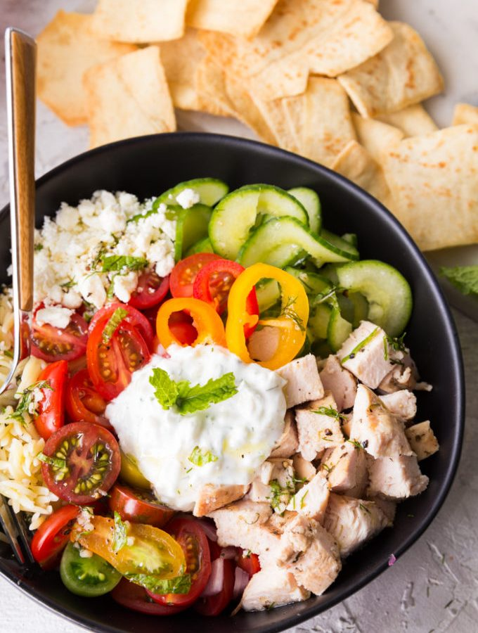 Amazing greek chicken orzo bowls