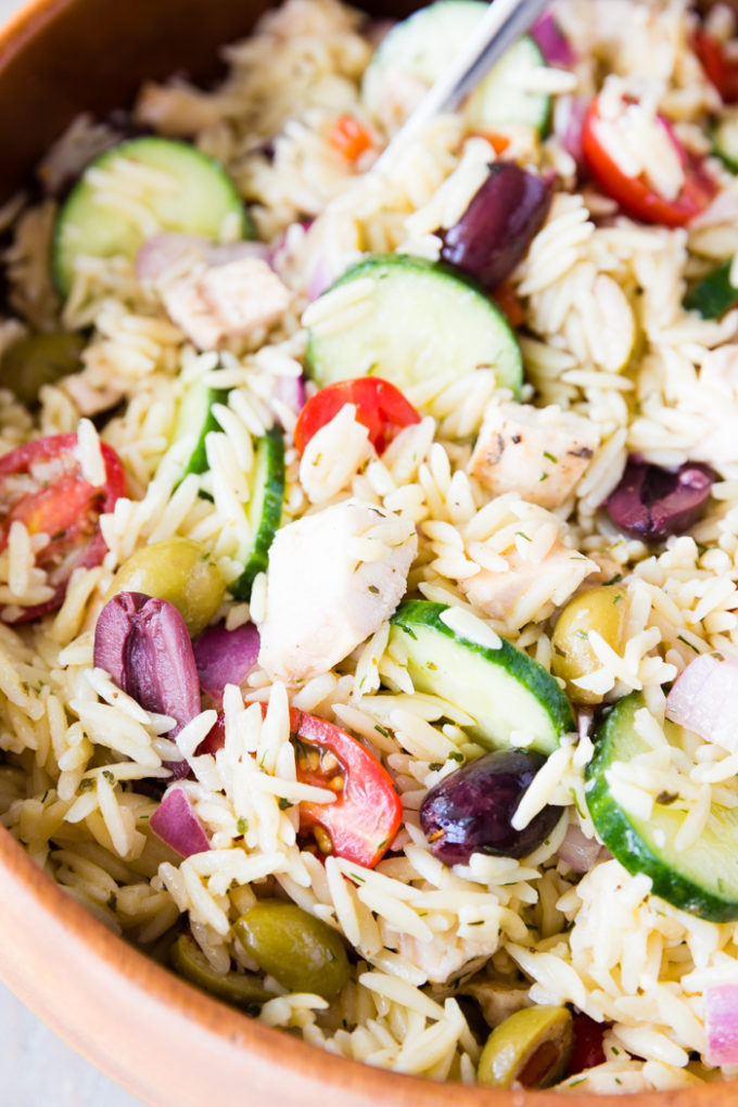 Close. up pic of chicken orzo pasta salad in a bowl