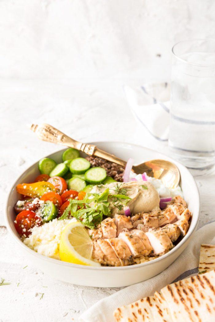 Delicious Greek Chicken Power Bowl with Sabra hummus
