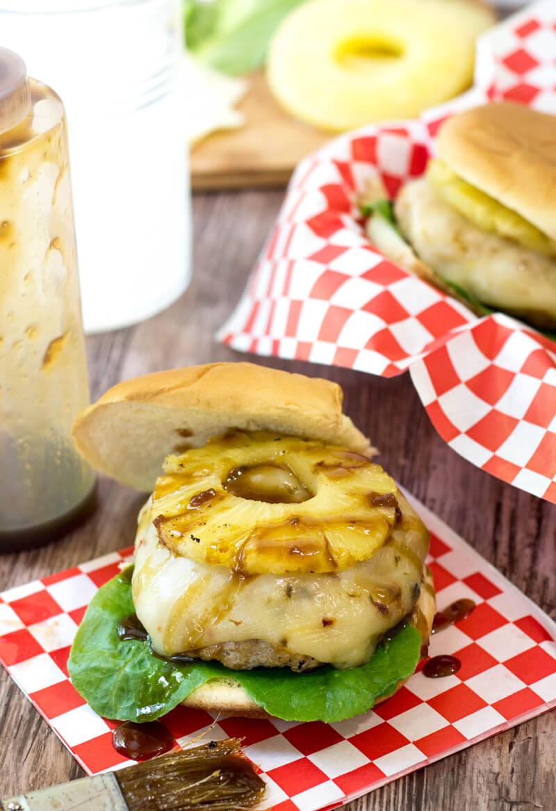 Grilled Pineapple Chicken Teriyaki Burgers