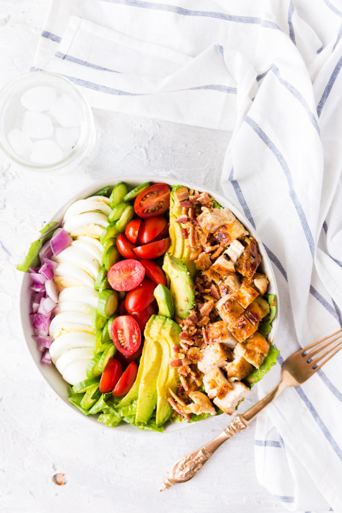 A delicious cobb salad with honey mustard chicken