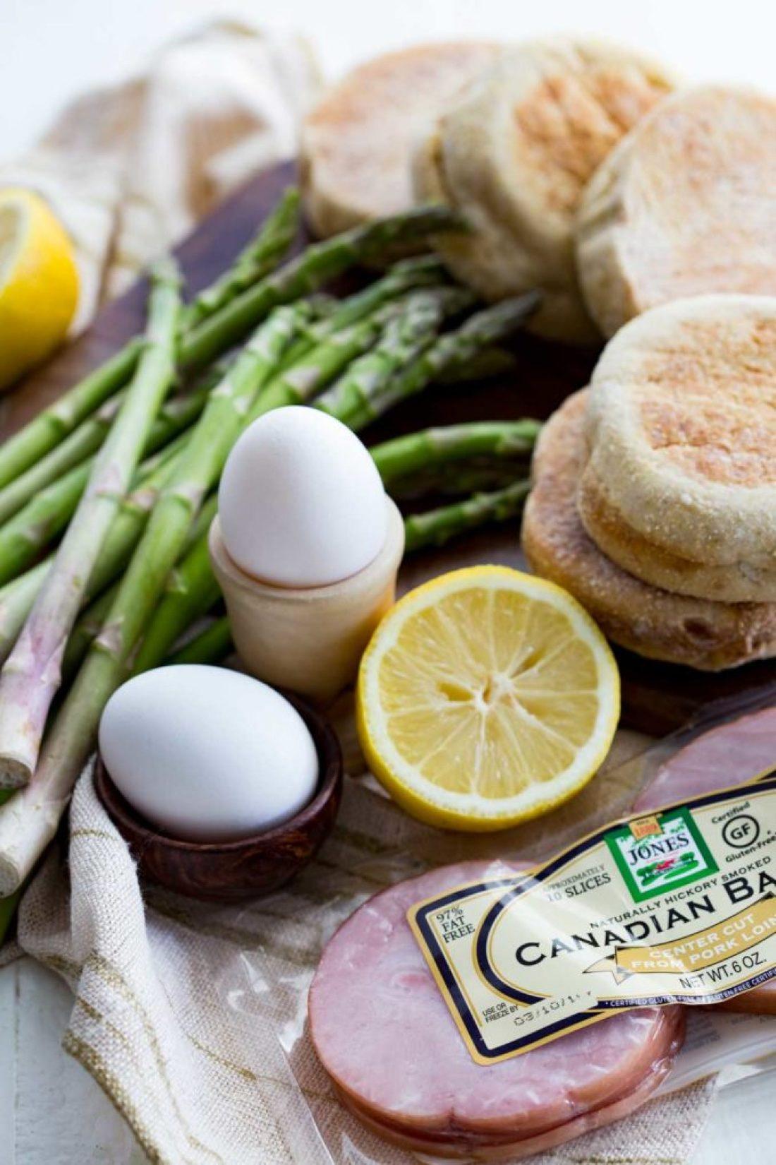 Ingredients for eggs benedict, a hearty breakfast, fresh ingredients