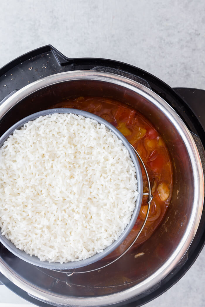 Cooking both rice and chicken at the same time, instant pot sweet and sour chicken