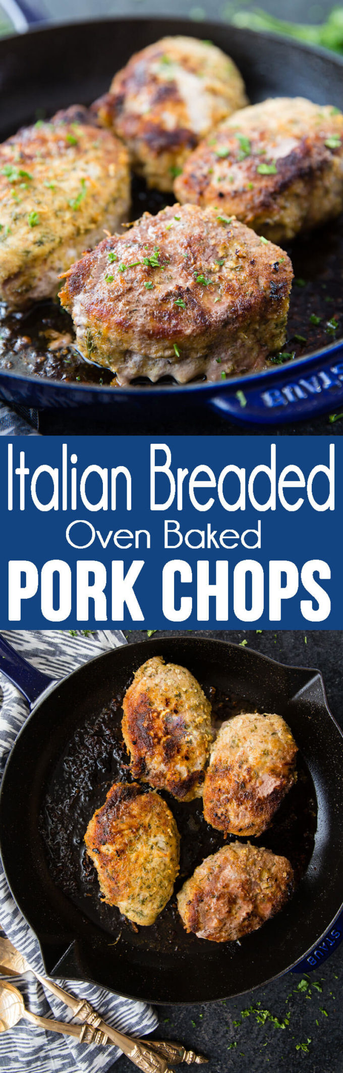 Oven baked pork chops that are breaded in Italian breadcrumbs and parmesan