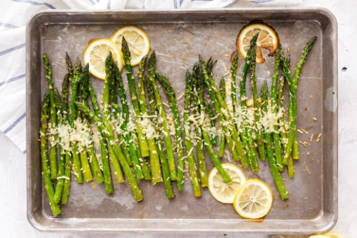 Oven roasted parmesan asparagus is a great vegetable side dish.