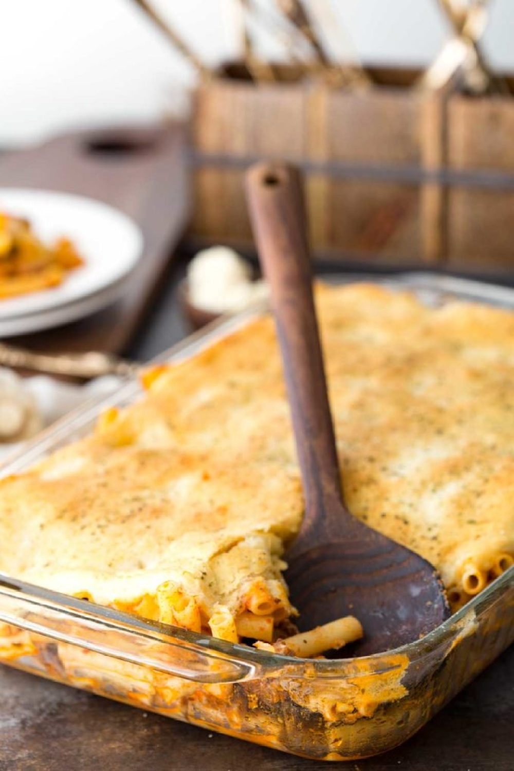 Pasta Bake is a meaty, veggie filled dish with garlic bread on top!