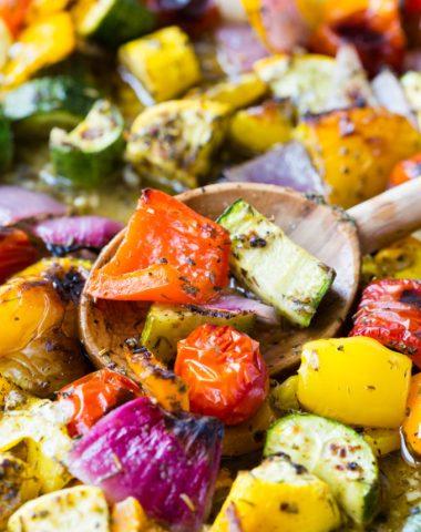 Spoon full of roasted vegetables