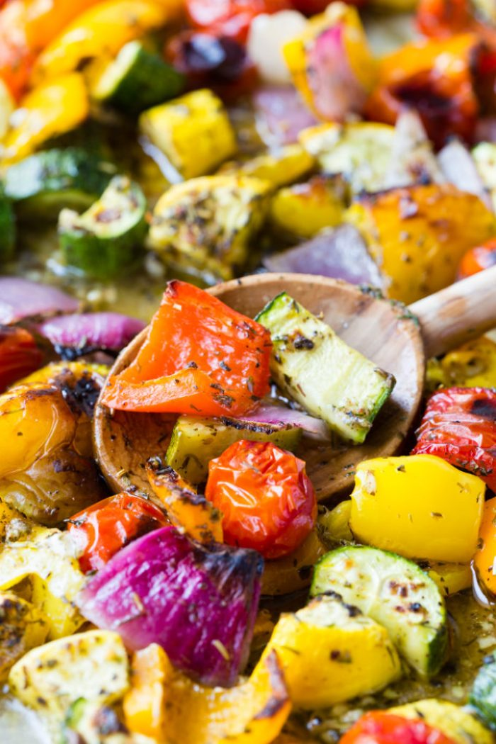 Spoon full of roasted vegetables