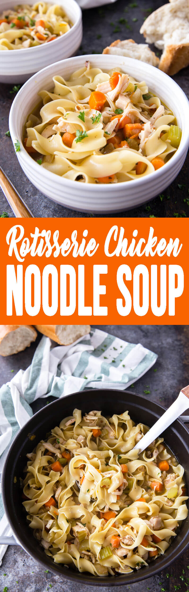 Delicious rotisserie chicken noodle soup is easy to make