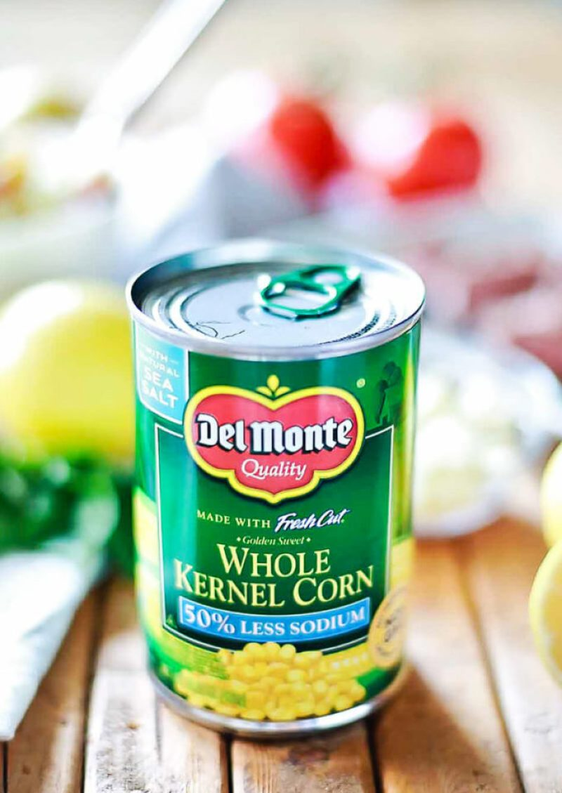 Del Monte corn is great for corn and feta relish on top of Greek marinated steak