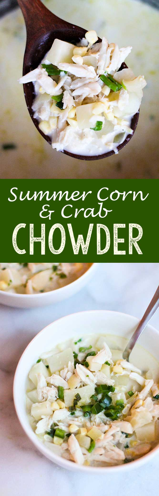 Summer corn and crab chowder is the perfect summer soup for a nice evening eating alfresco