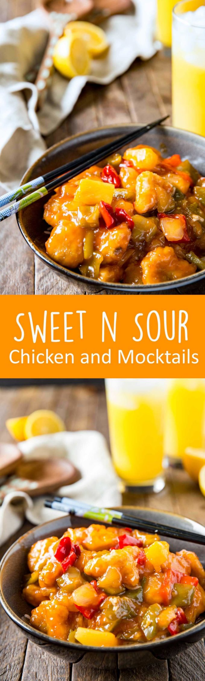 Sweet and Sour Mocktail and Chicken dinner