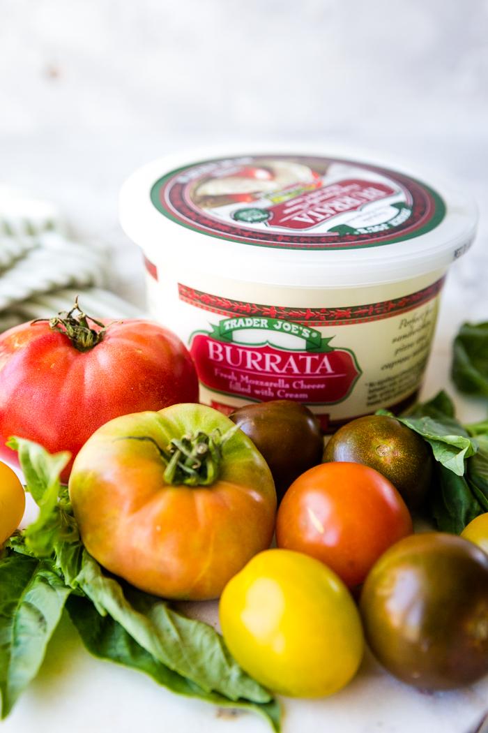 Tomato and burrata cheese displayed