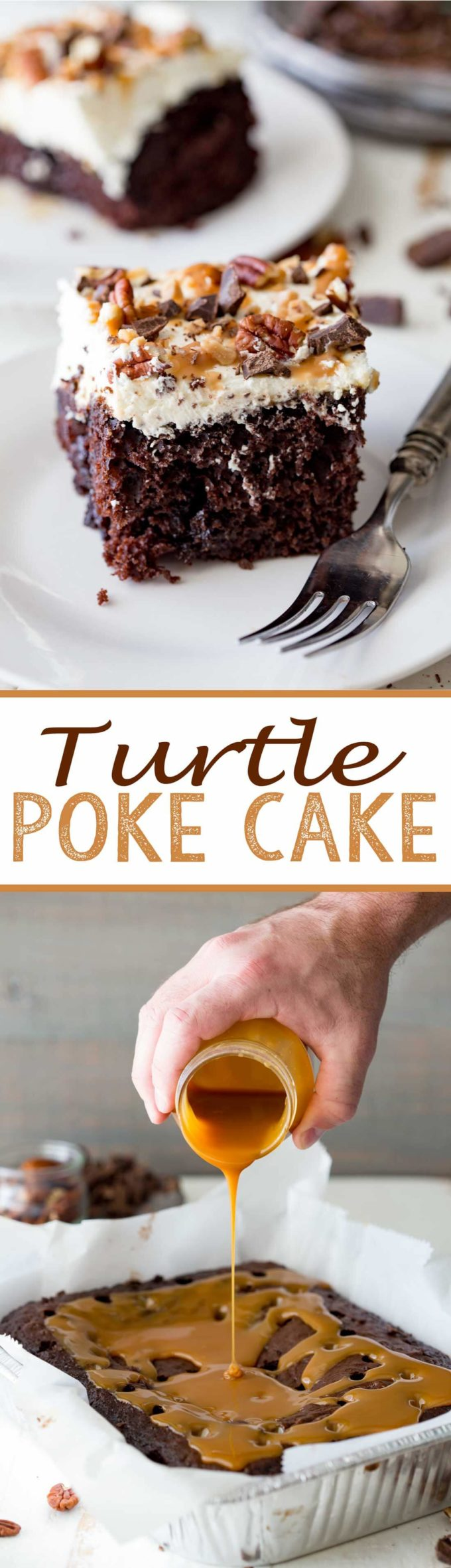 Easy Turtle Poke Cake is a richly decadent chocolate cake, doused in caramel and topped with stabilized whipped cream, chocolate, pecans, and toffee bits.