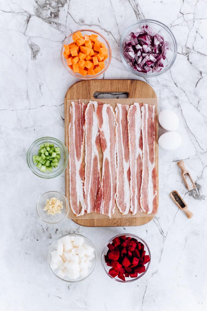Bacon and egg veggie hash ingredients, bacon, vegetables, and seasonings