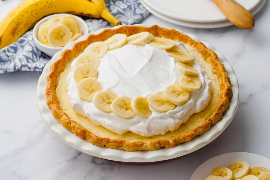Banana Creme Pie in a tin bowl