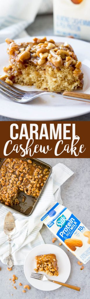 Caramel Cashew Cake, a rich, delicious cake that is egg and dairy free
