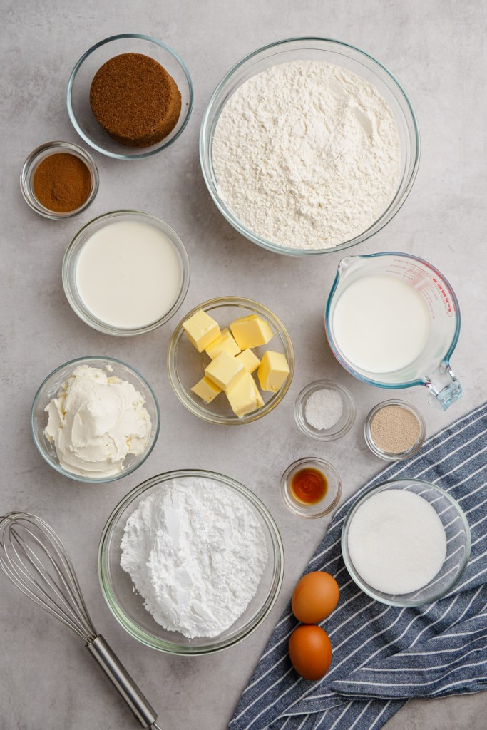 Making cinnamon rolls, all the ingredients you need.