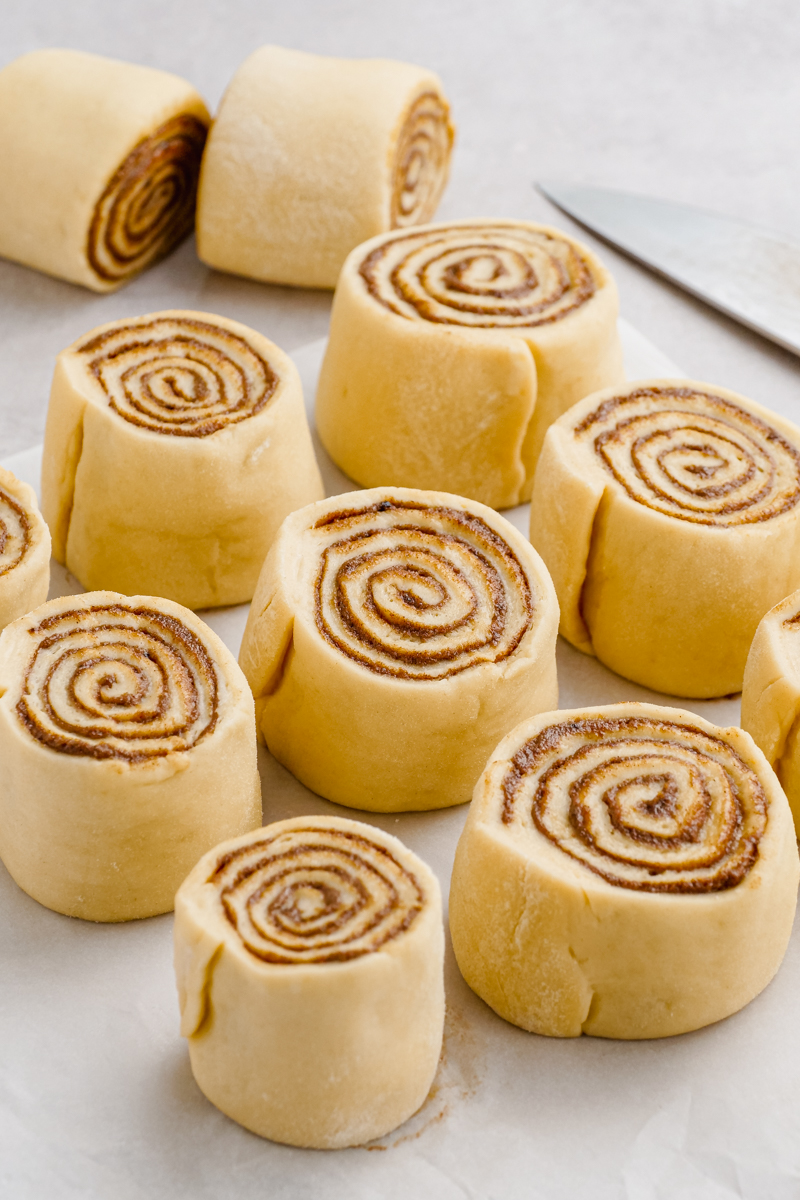 Cinnamon rolls before they rise and bake.