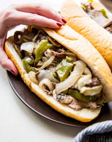 Philly Cheesesteak is easy to make on a sheet pan!