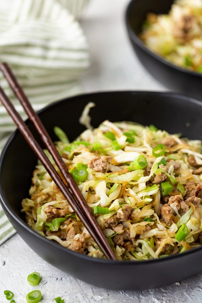 egg roll bowl with chopsticks