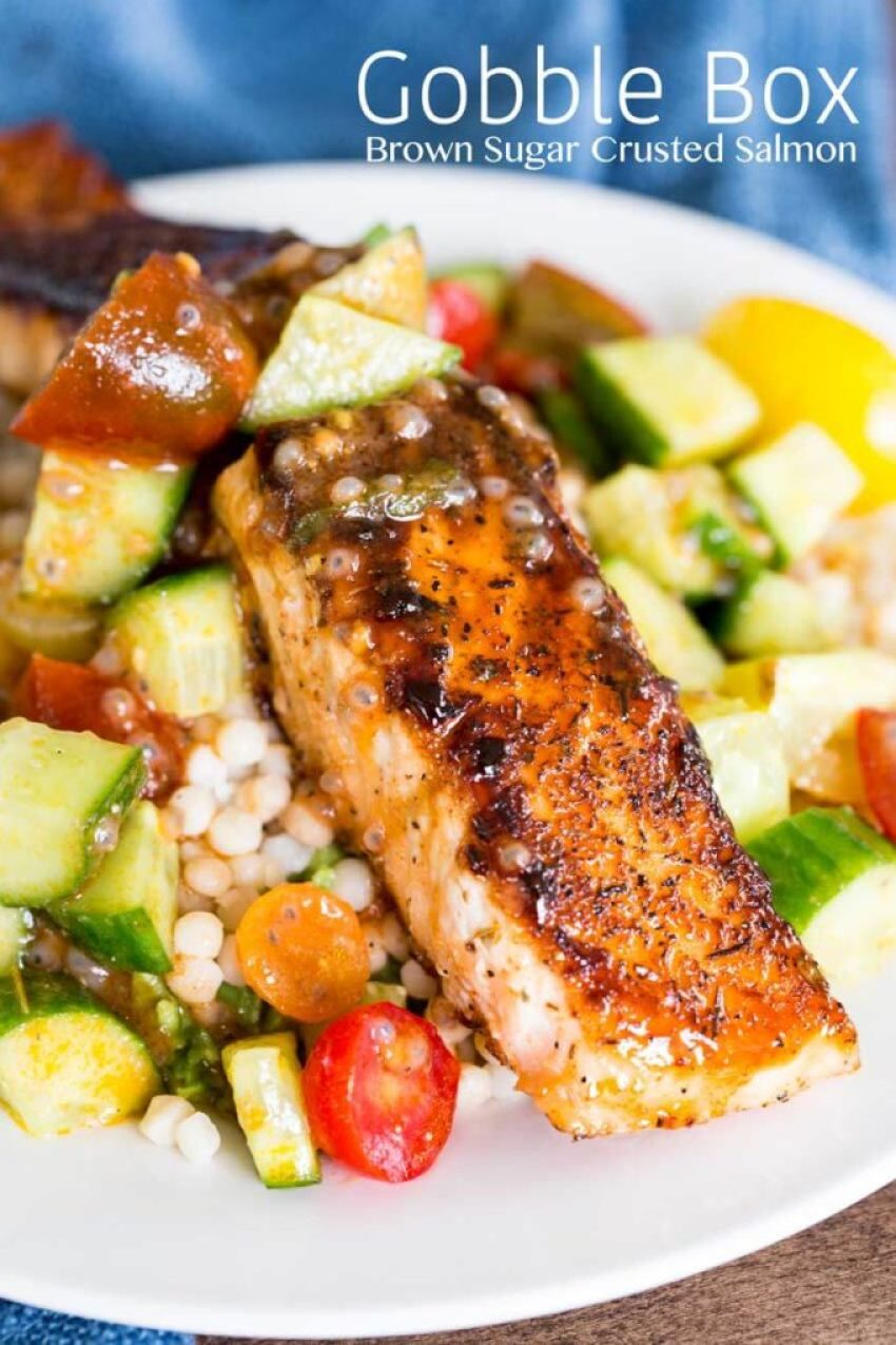 Brown sugar crusted salmon from Gobble Box
