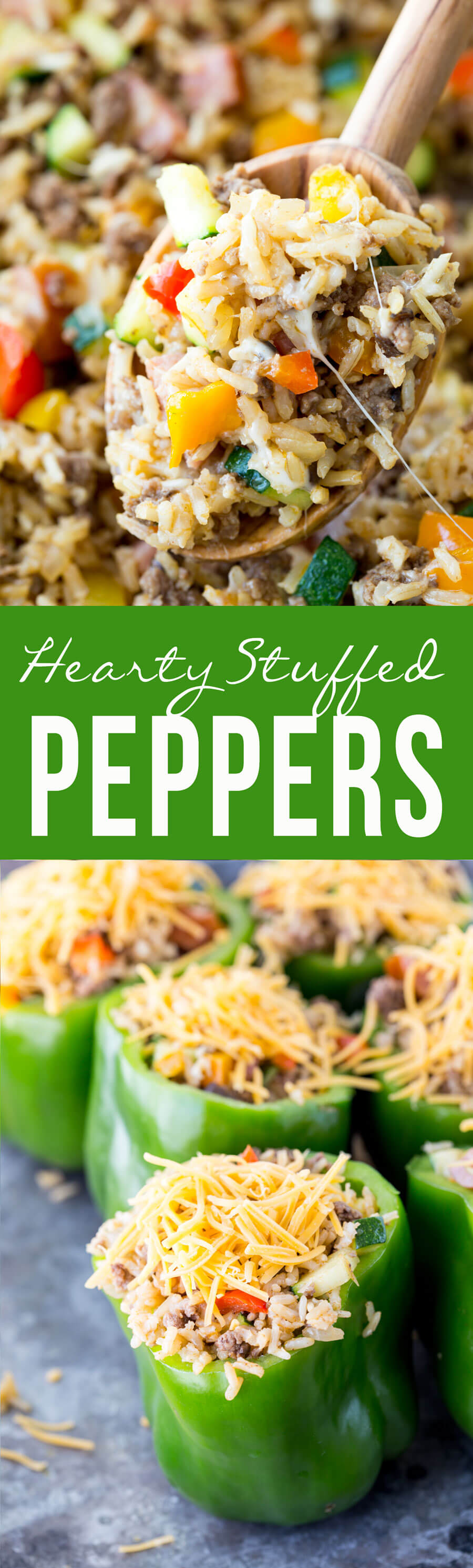 Hearty stuffed peppers are loaded with sausage, beef, veggies and brown rice