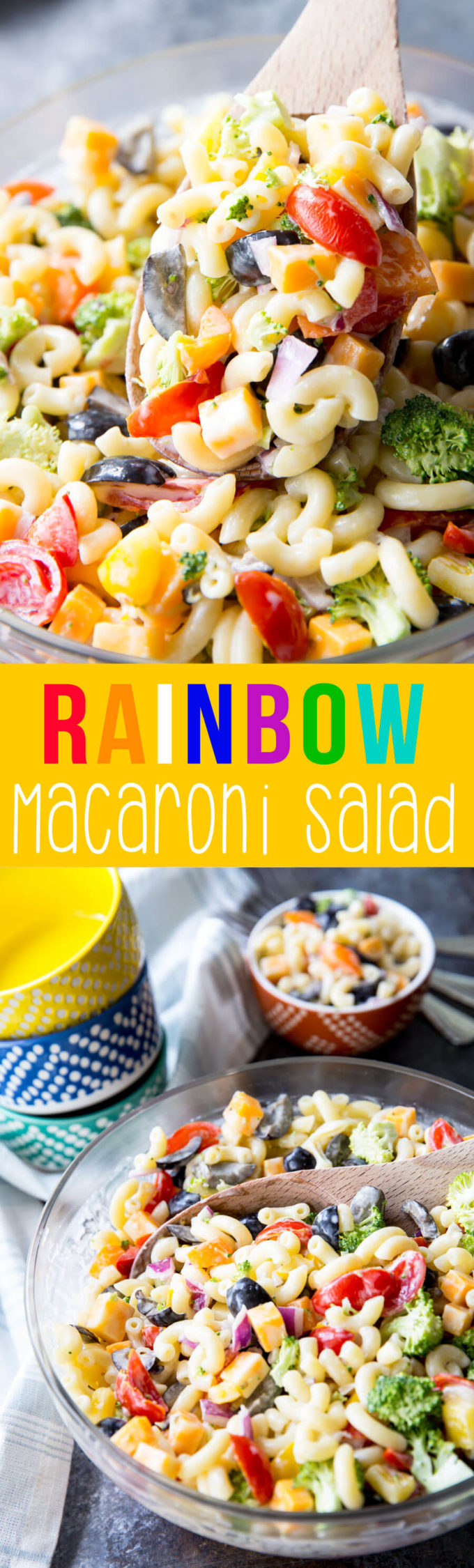 Rainbow Macaroni Salad: This pasta salad offers crunchy veggies, chunks of cheese, olives, and is dressed in a light, slightly tangy, slightly sweet dressing. The perfect summer side salad.