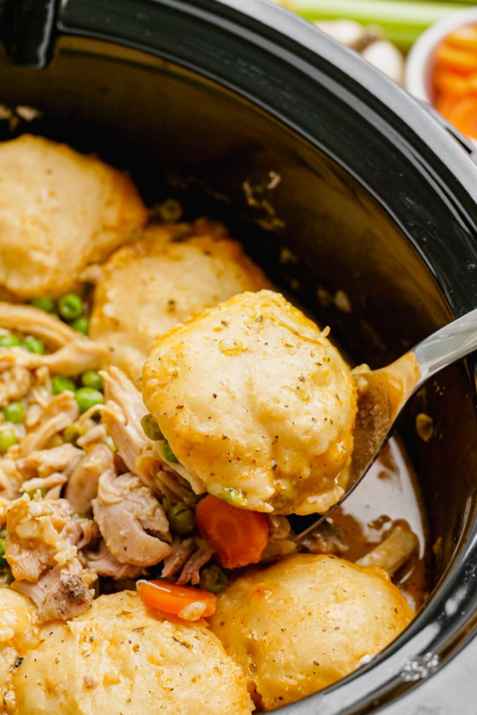 A crock pot with chicken and dumplings in it.