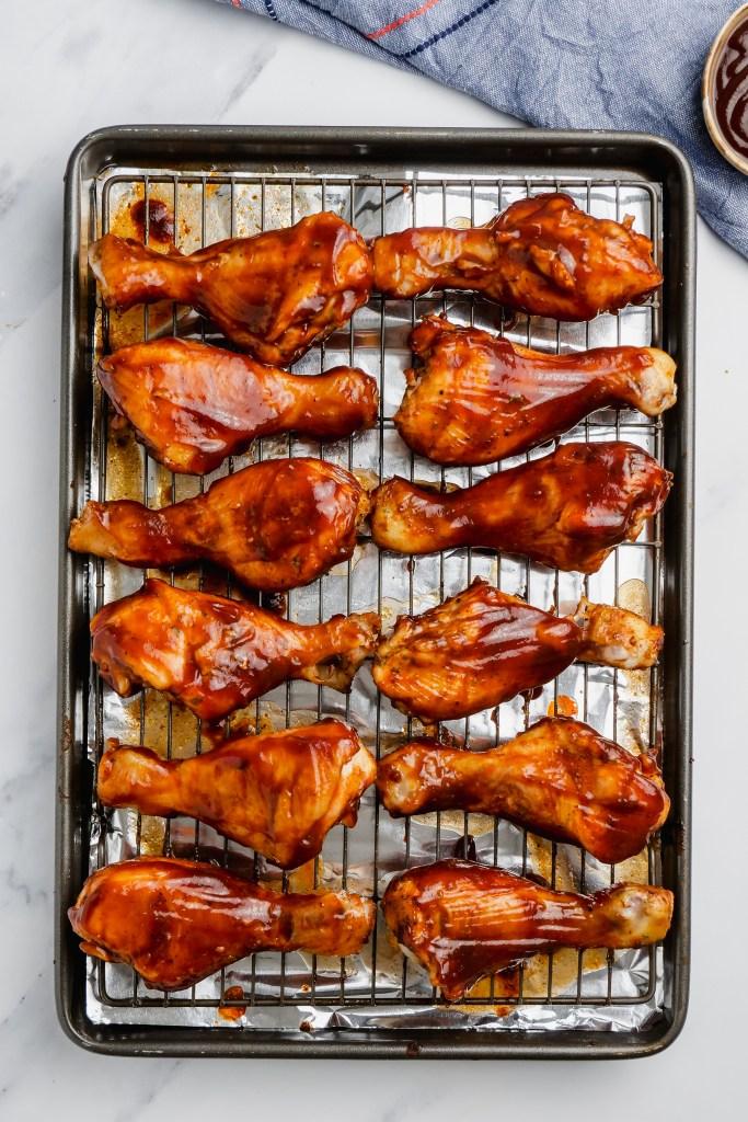 Slow Cooker BBQ Drumsticks on oven rack