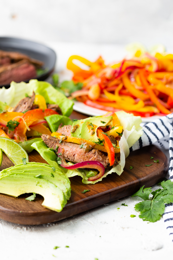 steak fajita lettuce wraps