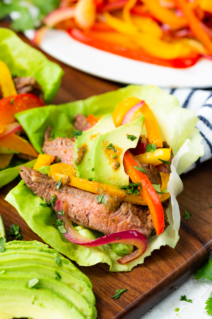 close up image of steak fajita lettuce wraps