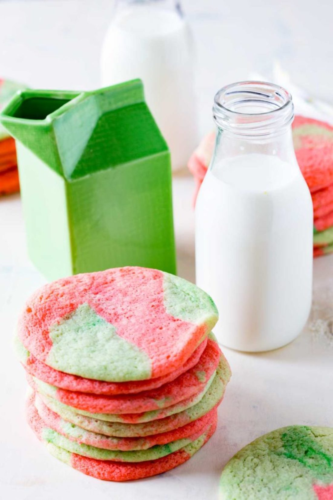 Fun Christmas colored sugar cookies, a great twist on a classic recipe