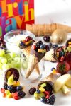 Chocolate dipped fruit cones for a birthday party
