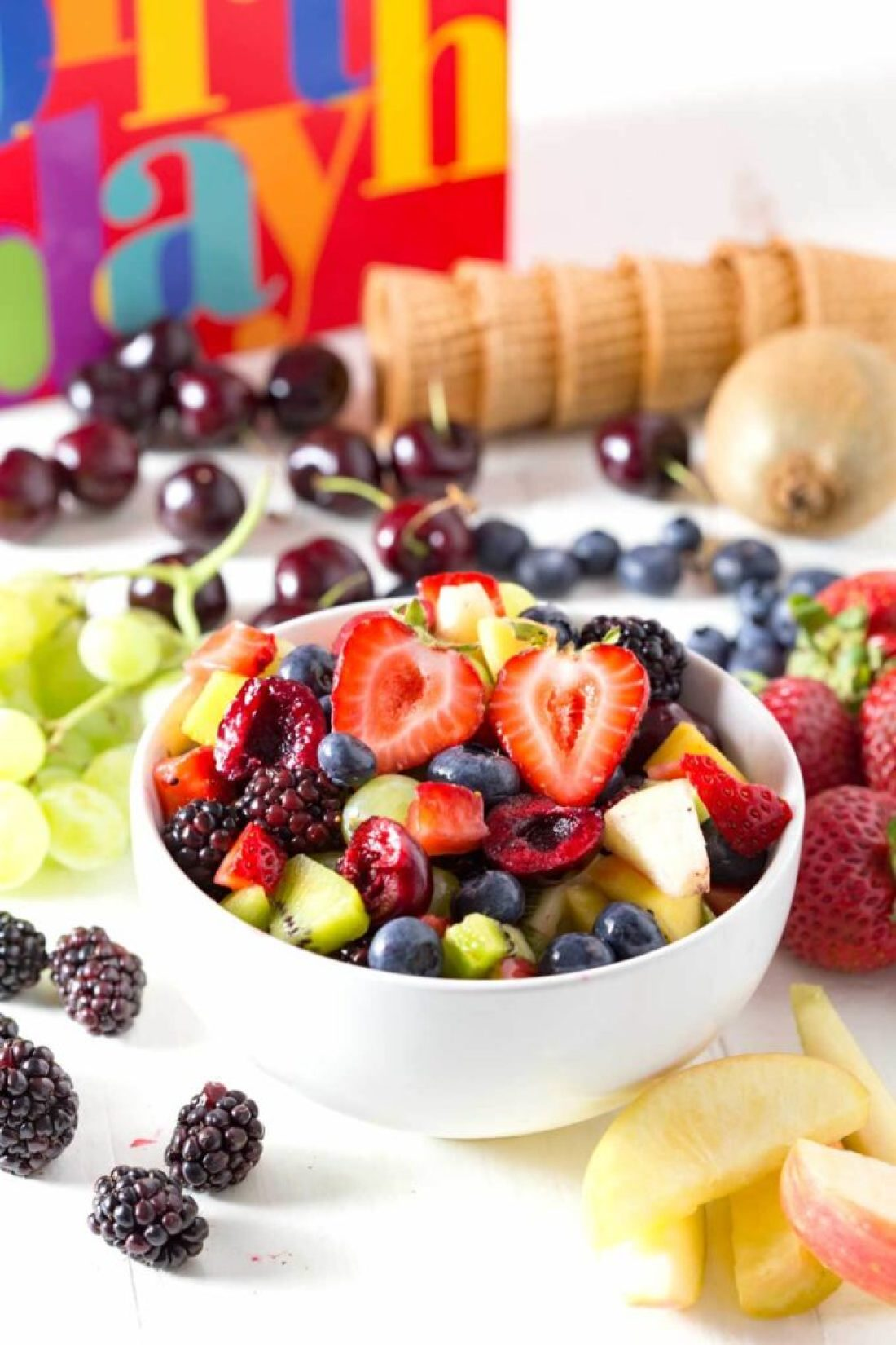 Fruit cut up for chocolate dipped fruit cones