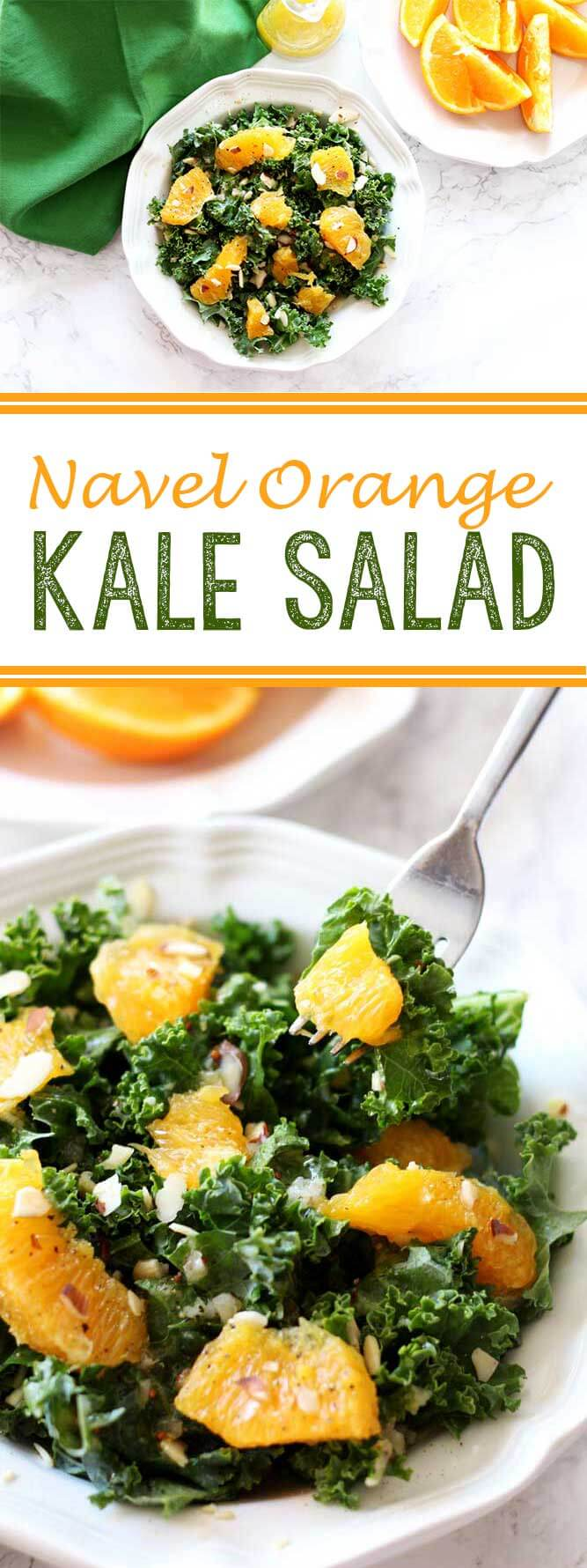 Navel Orange Kale Salad is a light, summery salad that is absolutely delicious
