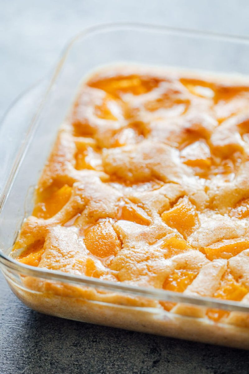 Deliciously simple peach cobbler made with pancake mix