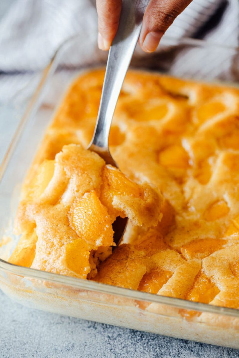 A quick and easy peach cobbler recipe made with Bisquick