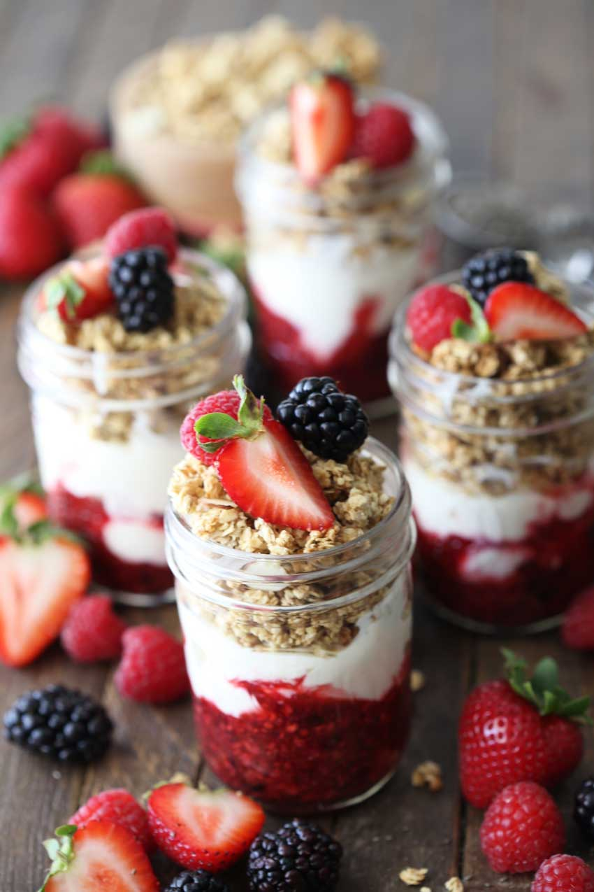 Berry compote parfait is a delicious breakfast