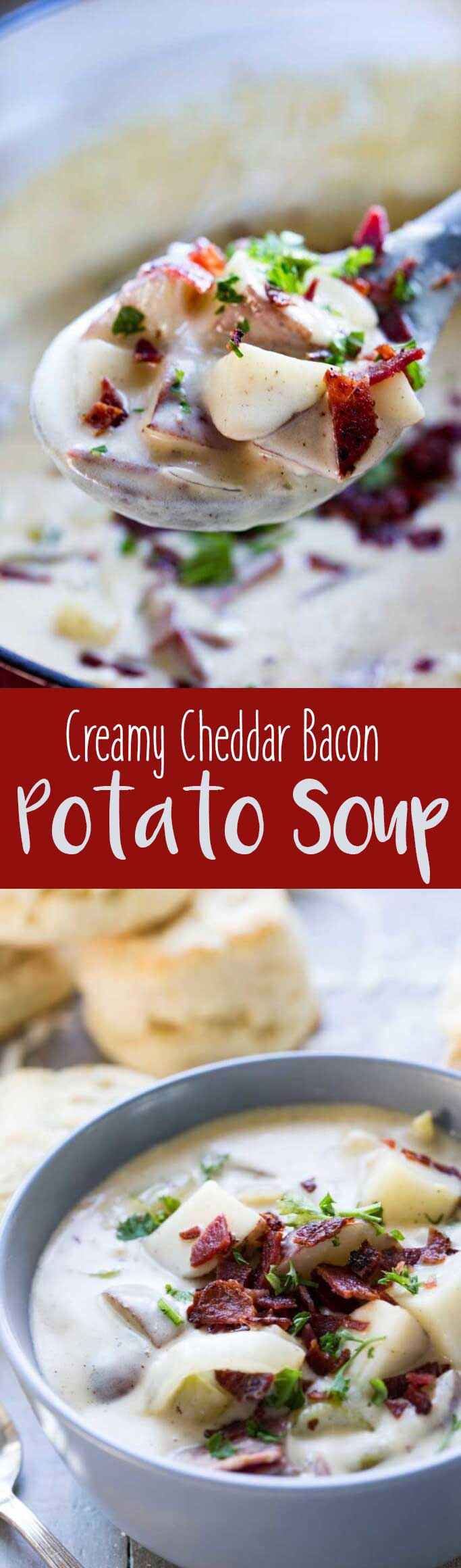Creamy Cheddar Bacon Potato Soup is perfect for chilly Fall weather. #ad #VoteWrightBrandBacon
