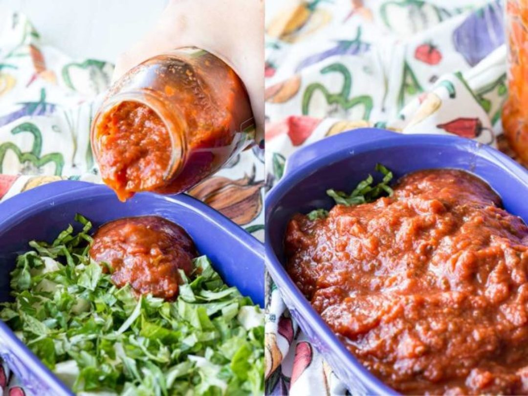 Add ing sauce to the caprese baked cheese dip