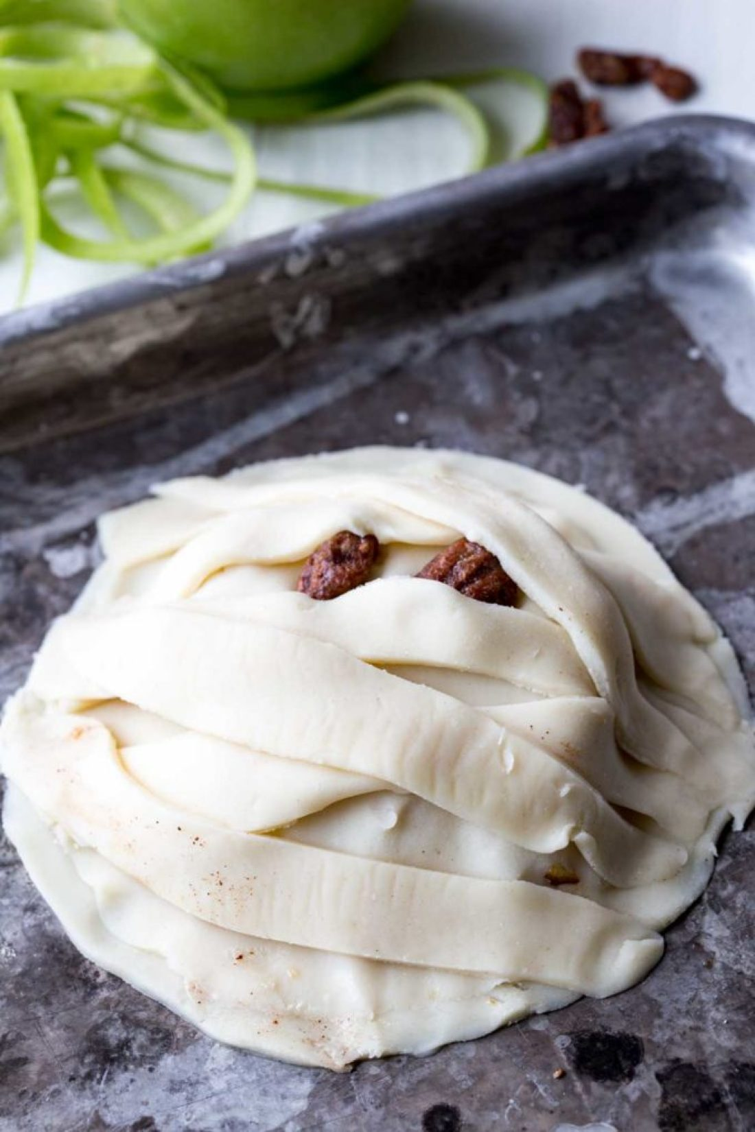 Layered to look like a mummy, this apple hand pie is awesome!