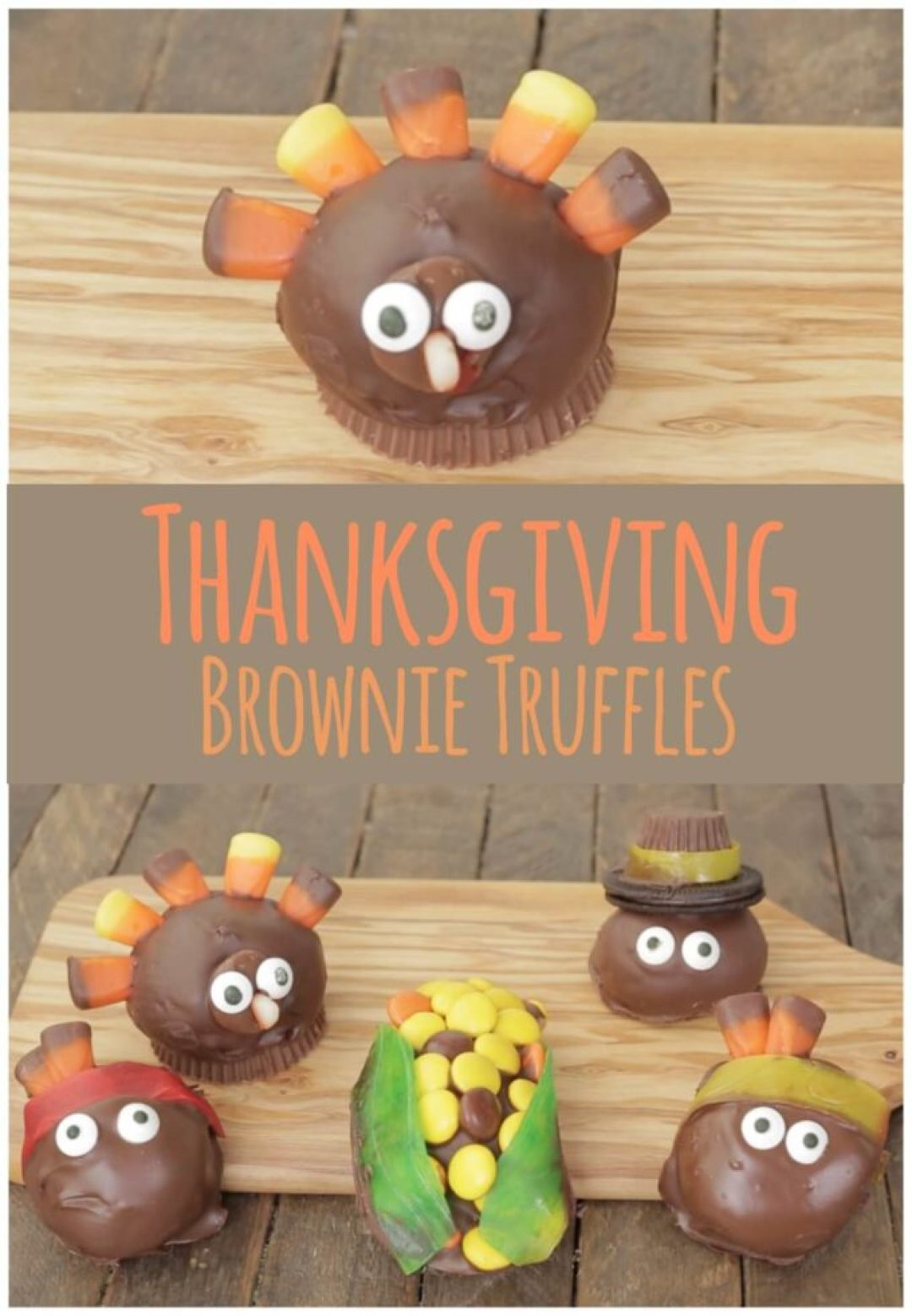 Thanksgiving Brownie Truffles are a fun and easy to make Thanksgiving treat