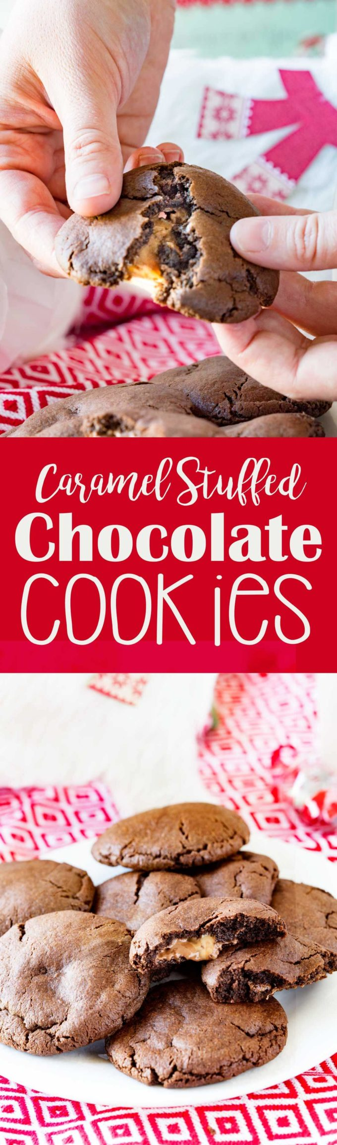 Carmel Stuffed Chocolate Cookies make a great Santa cookie. They are tasty, fun, and help make the holidays bright. you will be anxious to sink your teeth into these chocolatey cookies with a carmel surprise.